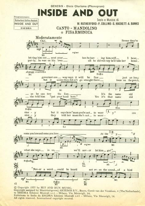 genesis sheet music: